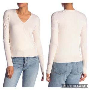 Elodie Ribbed Wrap Sweater in Cream XS NWT